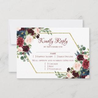 Love Bloom | Elegant Red Floral Gold Frame Entree RSVP Card