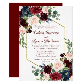 Love Bloom | Elegant Red Floral Gold Frame Wedding Invitation