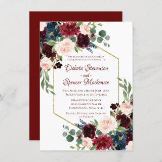 Love Bloom | Elegant Red Floral Gold Frame Wedding Invitations