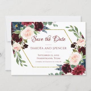 Love Bloom | Elegant Red Floral Gold Frame Wedding Save The Date