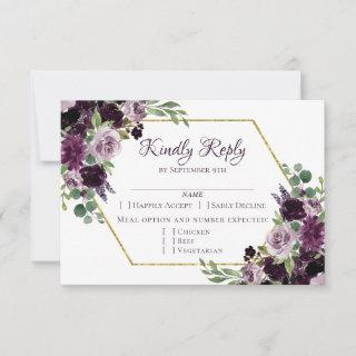 Love Bloom | Moody Dramatic Passion Purple Entree RSVP Card
