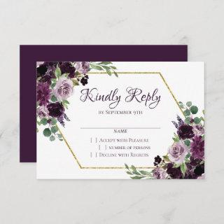 Love Bloom | Moody Passion Dramatic Purple Floral RSVP Card