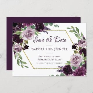 Love Bloom | Moody Passion Dramatic Purple Floral Save The Date
