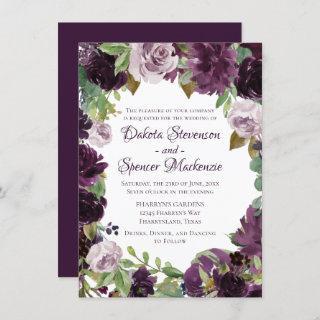Love Bloom | Moody Passion Floral Wreath Wedding Invitations