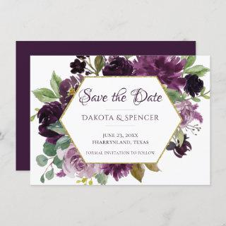 Love Bloom | Moody Passion Purple Floral Wedding Save The Date