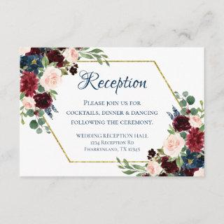 Love Bloom | Rustic Navy Burgundy Reception Enclosure Card