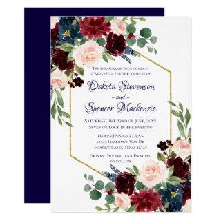 Love Bloom | Rustic Navy Burgundy Wedding Invitations