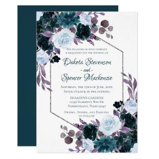 Love Bloom | Teal and Turquoise Dark Moody Wedding Invitation