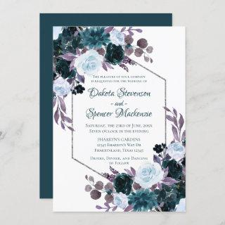 Love Bloom | Teal and Turquoise Dark Moody Wedding Invitations