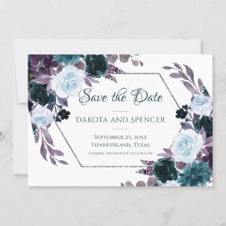 Love Bloom | Teal and Turquoise Dark Moody Wedding Save The Date