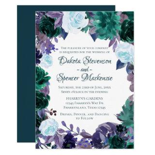 Love Bloom | Teal Moody Purple Dark Flora Wreath Invitation