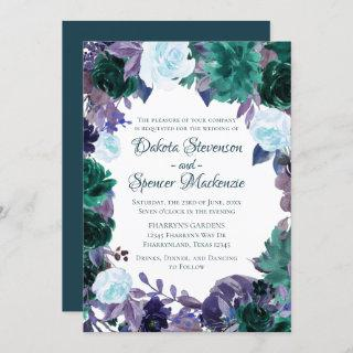 Love Bloom | Teal Moody Purple Dark Flora Wreath Invitations