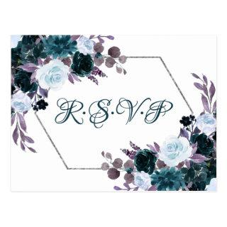 Love Bloom | Teal Turquoise Dark Moody Flora RSVP Postcard