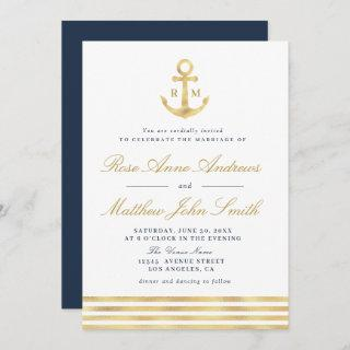 Love by the sea gold anchor nautical navy wedding Invitations
