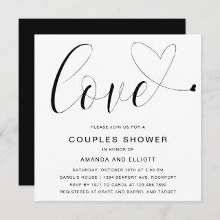 Love Heart Black White Typography Couples Shower Invitations