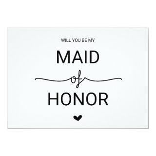 Love Hearts Will You Be My Maid of Honor Invitation