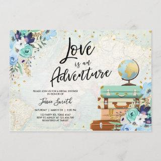 Love is an Adventure Blue Floral Bridal Shower Invitations