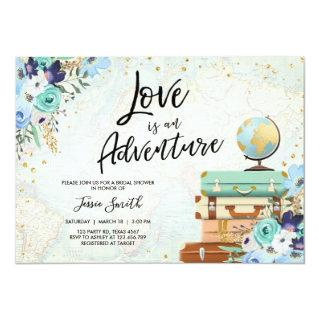 Love is an Adventure Blue Floral Bridal Shower Invitation