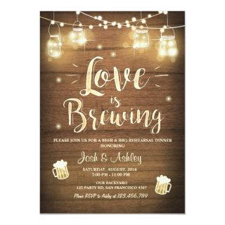 Love is brewing bbq rehearsal bridal shower Wood Invitations