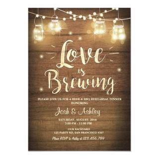 Love is Brewing BBQ Rehearsal Bridal Shower Wood Invitation