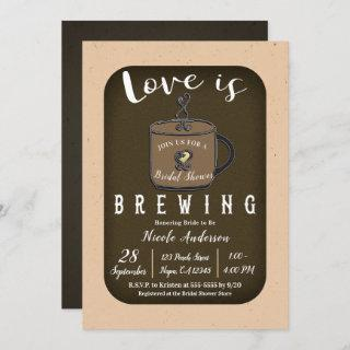 LOVE IS BREWING Coffee Cafe Shop Bridal Shower Invitations