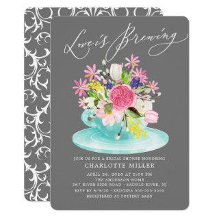 Love is Brewing Colorful Floral Bridal Tea Shower Invitations