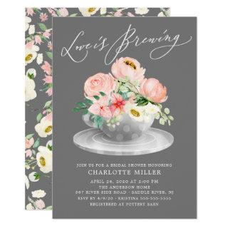 Love is Brewing Pink Floral Bridal Tea Shower Invitations