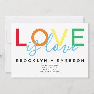 Love is Love Gay Wedding Save The Date