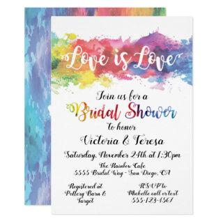Love is Love Rainbow Watercolor Bridal Shower Invitations