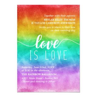 Love is Love Rainbow Watercolor Gay Wedding Invitations