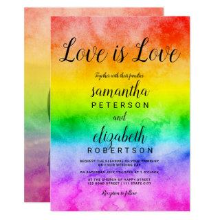Love is love watercolor photo lesbian wedding Invitations