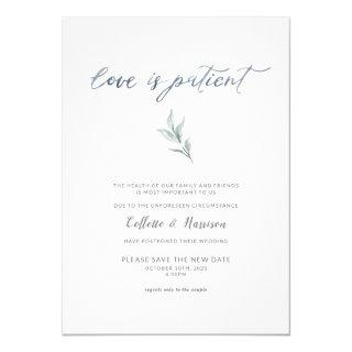 Love is Patient Change the Date Watercolor Vine Invitations