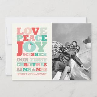 Love Peace Joy Kisses Color Typography Christmas Holiday Card