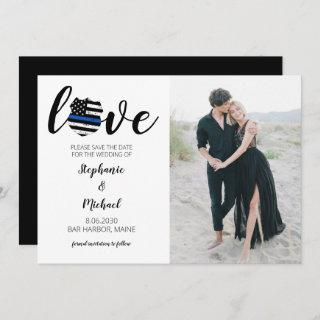 Love Police Law Enforcement Wedding Photo Save The Date