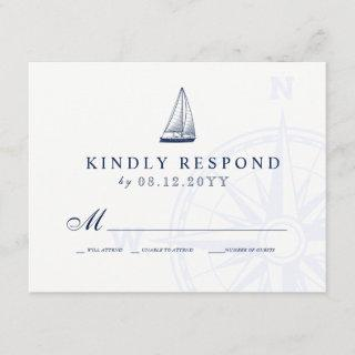Love Sets Sail Sailboat Nautical Wedding RSVP