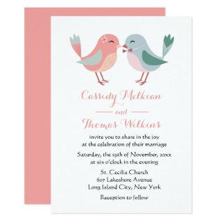 Lovebirds Pink & Blue Wedding Birds Invitations