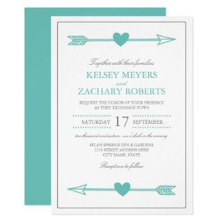 Lovely Arrows Wedding Invitation / Teal and Gray