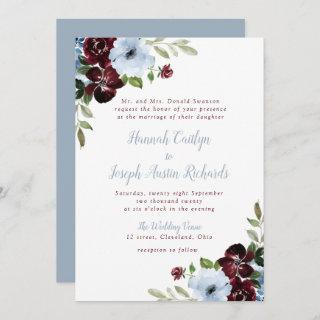 lovely burgundy dusty blue floral wedding Invitations