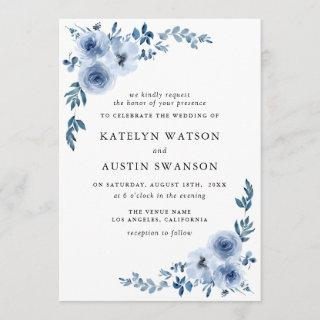 lovely dusty blue floral wedding Invitations