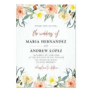 Lovely fall floral wedding Invitations