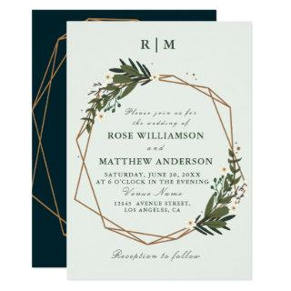 lovely geometric floral wreath wedding Invitations
