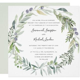 Lovely Olive and leaves formal wedding Invitations