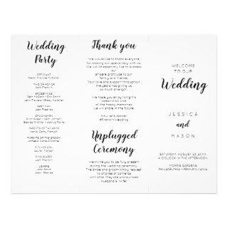 Lovely Script Tri-Fold Wedding Program