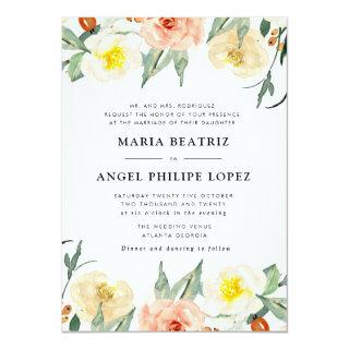 lovely watercolor fall blooms wedding invitation
