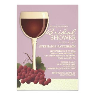 Lovely Wine & Grapes Bridal Shower Invitations