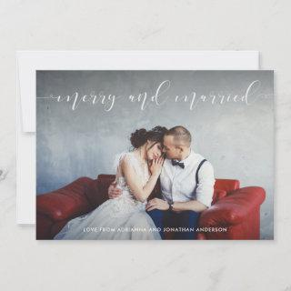 Loving Script | Merry and Married with Photo Holiday Card
