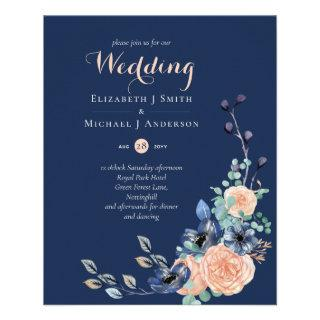 Lowest Budget Navy Coral Floral Wedding Flyer