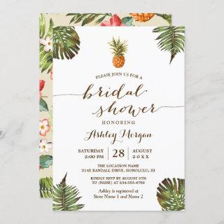 Luau Tropical Leaves Pineapple Bridal Shower Invitation