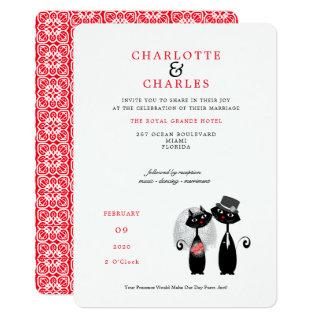 Lucky Black Cats Bride | Groom Purrr..fect Wedding Invitation