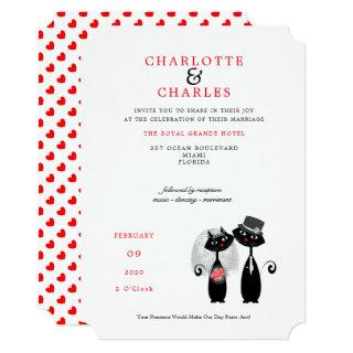 Lucky Black Cats Bride | Groom Purrr..fect Wedding Invitations